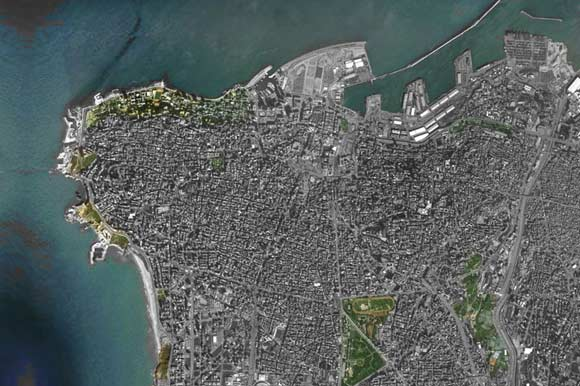 Beirut's grey skyline as seen from satellite images
